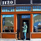 Woman on City Street Urban Oil Painting by LindaAppleArt