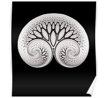 Tree of Life White on Black Poster