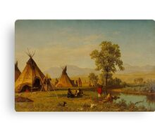Albert Bierstadt - Sioux Village near Fort Laramie Painting Photograph Canvas Print