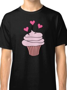 Cute Pink and Black Hearts Cupcake Pattern Classic T-Shirt