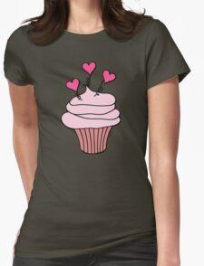 Cute Pink and Black Hearts Cupcake Pattern T-Shirt