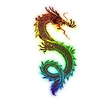 Rainbow Chinese Dragon Illustration (DBZ, Ancient, Mythical) Photographic Print