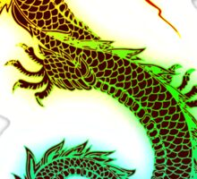 Rainbow Chinese Dragon Illustration (DBZ, Ancient, Mythical) Sticker