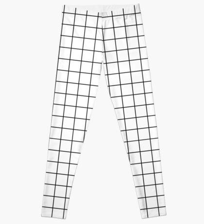 white grid minimalist design Leggings