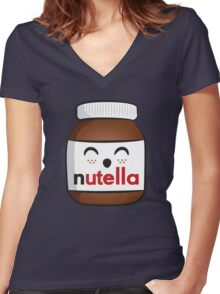 Nutella face 3 Women's Fitted V-Neck T-Shirt