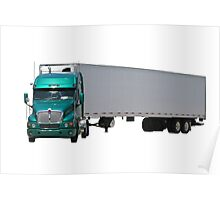 Green Semi Truck Poster