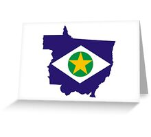 Flag Map of Brazilian State of Mato Grosso  Greeting Card