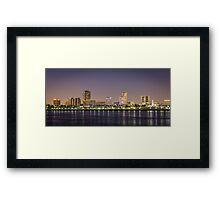Long Beach Skyline at Night Framed Print