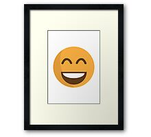 Smiling Face With Open Mouth And Smiling Eyes EmojiOne Emoji Framed Print