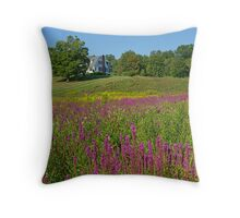 Purple flowers and a house Throw Pillow