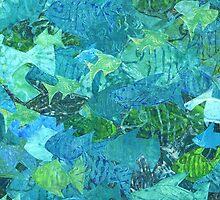 Fish School Monoprint Collage  by Heatherian
