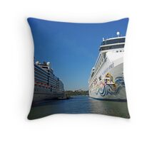 Two Giant Ships Throw Pillow