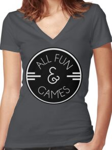 All Fun & Games Women's Fitted V-Neck T-Shirt