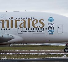 Emirates A380 Nose shot at Manchester by PlaneMad1997