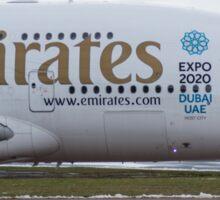 Emirates A380 Nose shot at Manchester Sticker