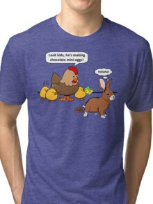 Bunny makes chocolate poop funny cartoon Tri-blend T-Shirt