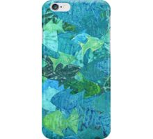 Fish School Monoprint Collage  iPhone Case/Skin
