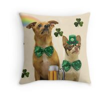 St. Patrick's Day Chihuahuas Throw Pillow