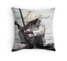 Mekong Fishing Throw Pillow