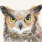Great Horned Owl Watercolor by OlechkaDesign
