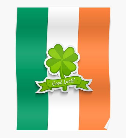 Clover on Irish flag for Patrick day Poster