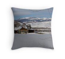 Snowy farm in Summit County Throw Pillow