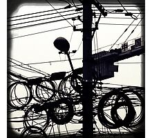 Black and white street photography print, Shanghai high speed urban development lamp post wires, vintage editorial China travel photography Photographic Print