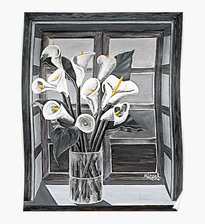 """""""Lilies in Window"""" original signed acrylic painting on canvas Poster"""