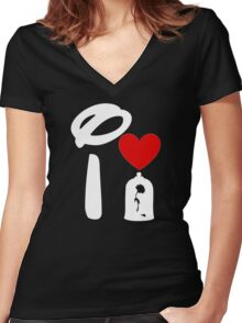 I Heart Beauty and The Beast (Inverted) Women's Fitted V-Neck T-Shirt