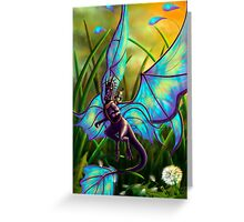We Ride at Dawn - Mouse Warrior Riding Fairy Dragon Greeting Card