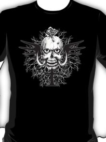 Skull With Rose Cross Illustration T-Shirt