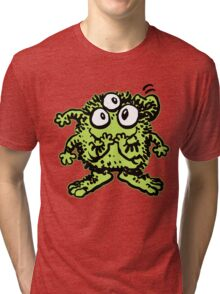 Cute Cartoon Green Monster by Cheerful Madness!! Tri-blend T-Shirt