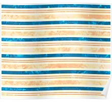 Sun Kissed Stripes: Cream, Rose, Brown and Blue Poster