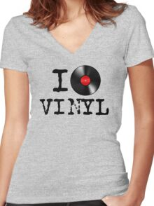 I Heart Vinyl Women's Fitted V-Neck T-Shirt