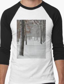 Snowy day in New York City  Men's Baseball ¾ T-Shirt