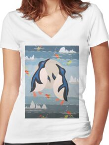 Penguin Pair Women's Fitted V-Neck T-Shirt