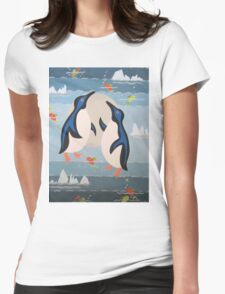 Penguin Pair Womens Fitted T-Shirt
