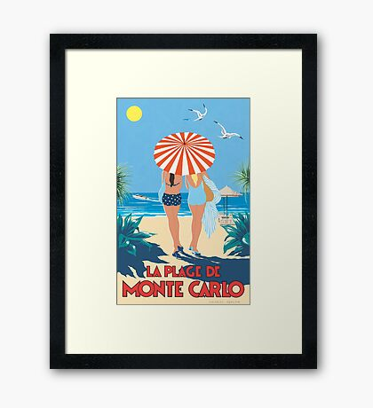 Classic Monte Carlo Vintage Travel Poster Framed Print
