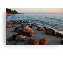 Morning stones on a Baltic Sea beach in summer 2007 Canvas Print