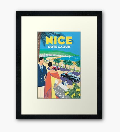 French Riviera Classic Vintage Travel Poster Framed Print
