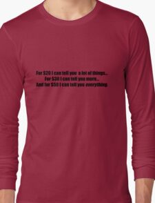Pee-Wee Herman - For $20 I Can Tell You - Black Font Long Sleeve T-Shirt
