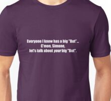 Pee-Wee Herman - C'mon Simone, Let's Talk - White Font Unisex T-Shirt