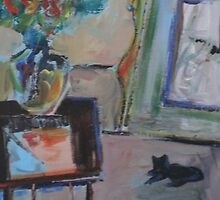 BLACK CAT, RED FLOWERS(C2008) by Paul Romanowski