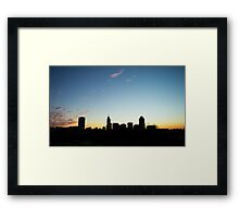 Raleigh Skyline at Sunrise Framed Print