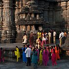 Bright saris at Belur by Syd Winer
