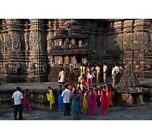 Bright saris at Belur Photographic Print