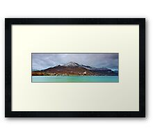 Annecy lake and first snow on the mountains Framed Print