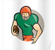 American Football Running Back Circle Cartoon Poster