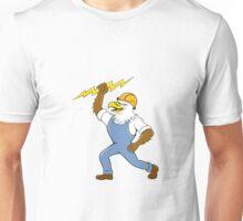 Bald Eagle Electrician Lightning Bolt Standing Cartoon Unisex T-Shirt