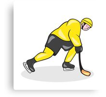 Ice Hockey Player With Stick Cartoon Canvas Print